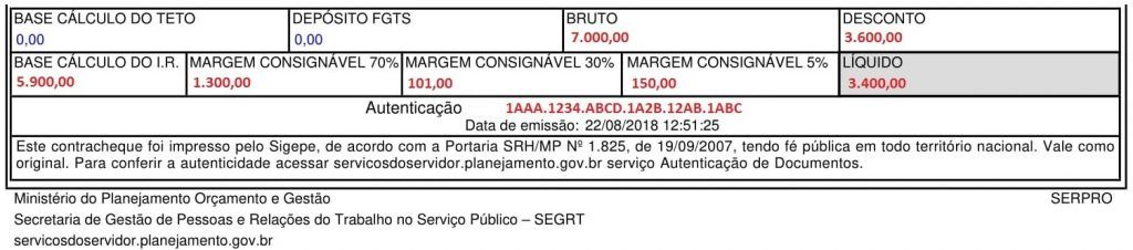 contracheque do sigepe - valores da margem