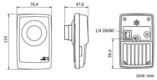 Cámara Cubo 2MP, 720p 1600x1200, Lente 4.0mm, Audio