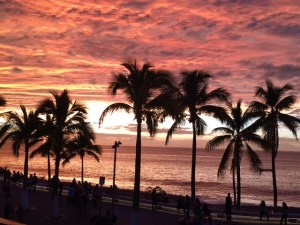 puerto vallarta, mexico, sunset, ocean, palm trees, tropical
