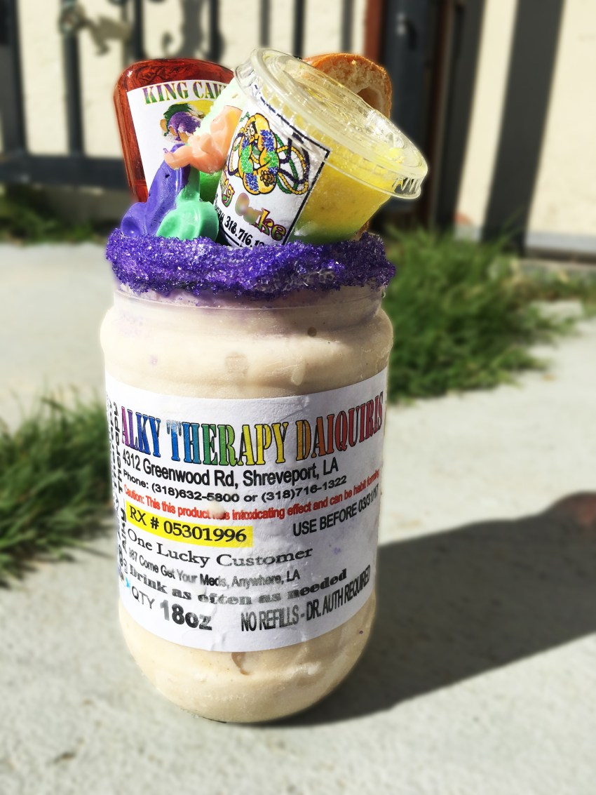 King Cake frozen daiquiri from Alky Therapy in Shreveport Louisiana