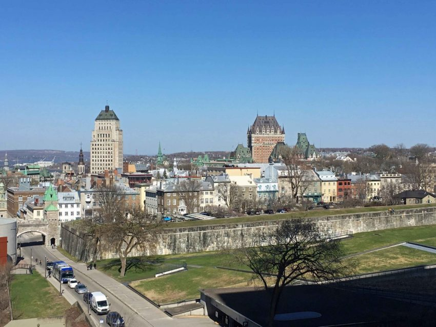 rooftop view of Quebec City with Chateau le Frontenac