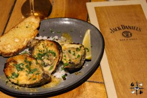 Jack Daniels grilled oysters