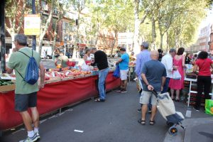 one of the open-air markets in Toulouse. They are a great place to provision the boat.