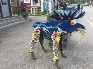 decorated wood moose art