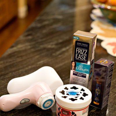 mineral sunscreen - powder sunscreen - hand cream with urea - exfoliation - skin cleanser brush