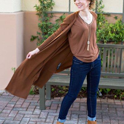 fall accessory trends - mahogany top - whbm mahogany duster - toms booties - kendra scott jewelry