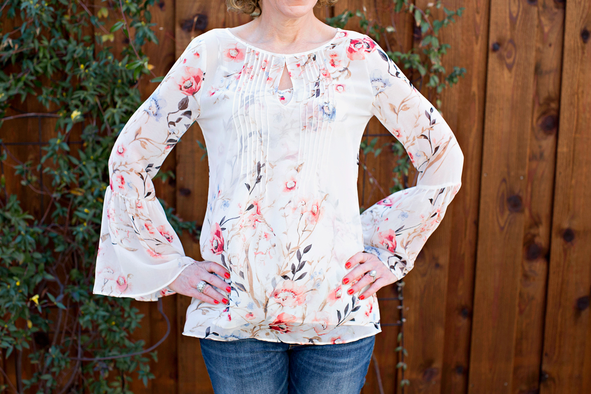 floral tops for spring, whbm floral top, gauzy floral top, statement sleeve top, bell sleeve top, white house black market top