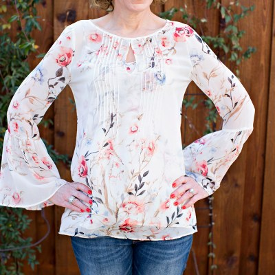 florals for spring, whbm floral top, gauzy floral top, statement sleeve top, bell sleeve top, white house black market top