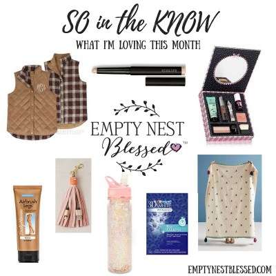 so in the know.9, monogrammed vest, monogrammed reversible vest, laura mercier eye stick, caviar stick eye color, midea throw blanket, throw, tassel throw, tassel throw blanket, benefit full face makeup kit, benefit makeup kit, beauty cheats makeup kit, tassel keychain with charger, usb charger keychain, usb tassel charger, glitter water bottle, sparkly water bottle, airbrush legs, leg makeup, sally Hansen airbrush leg makeup, crest whitestrips, 3d whitestrips, teeth whitener strips