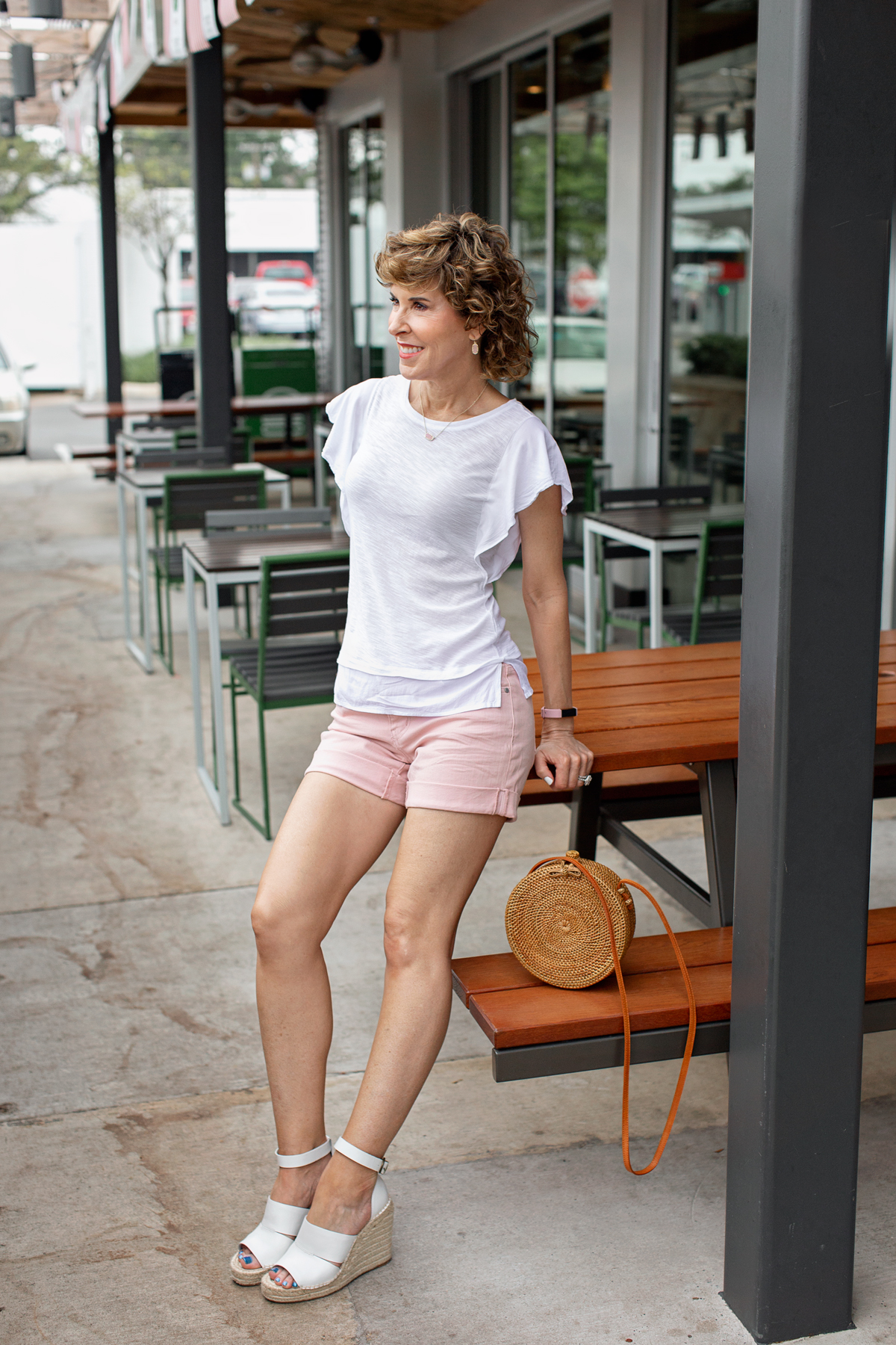 middle-aged legs, middle aged legs, empty nest, empty nester, empty nesters, self care for empty nesters, leg care, varicose veins, exercises for legs, exercises to tone legs, hide varicose veins, tone legs, leg makeup, fitbit alta, caslon blush shorts, Caslon denim shorts, Caslon pink shorts, caslon boyfriend shorts, vince camuto ruffle sleeve top, ruffle sleeve top, vince camuto tee, circle straw handbag, circle straw purse, leg health, help for varicose veins, cellulite, help for cellulite, cellulite products