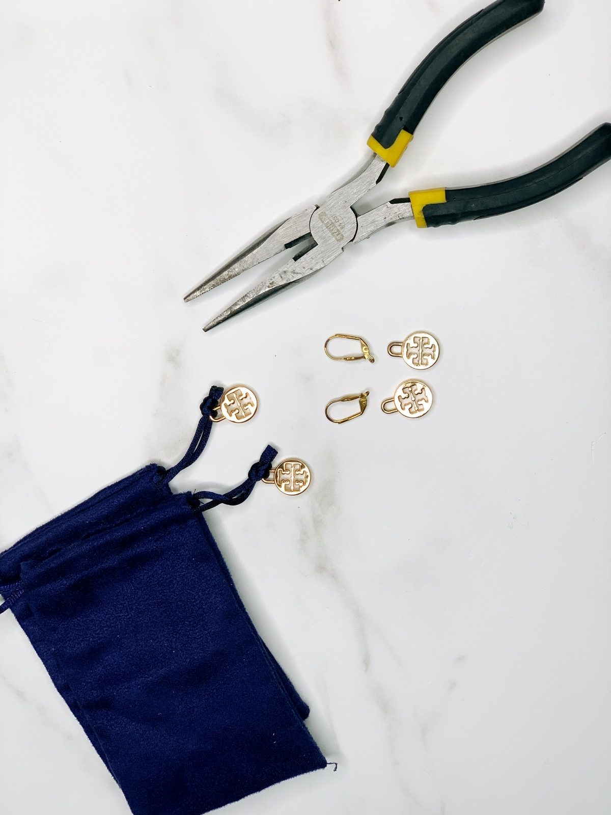 jewelry making supplies on white background