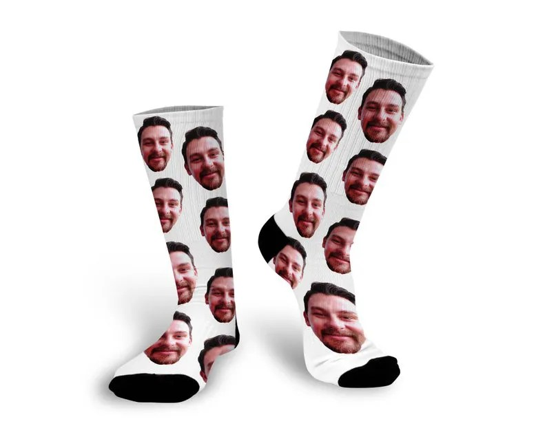 white socks with photo of face on them