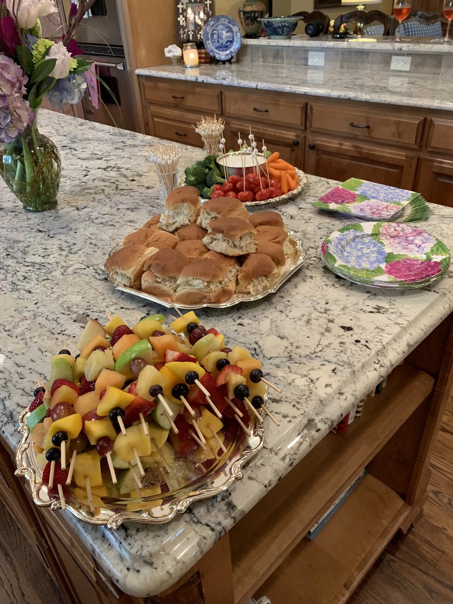 fruit kebobs and other food