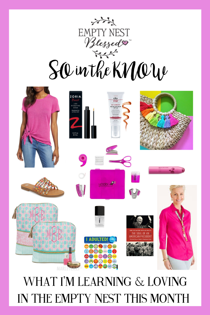 collage of products with pink background