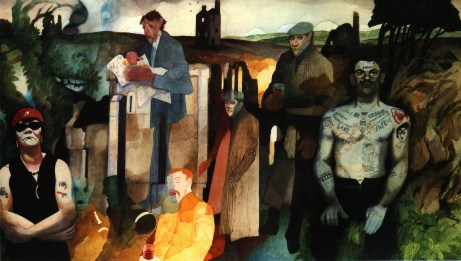 'Cornish Landscape With Figures and Tin Mine', 1975, by Edward Burra