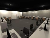sala de imprensa, com toda a estrutura necessária para o trabalho – bancada de serviço, computadores, alimentação, etc.