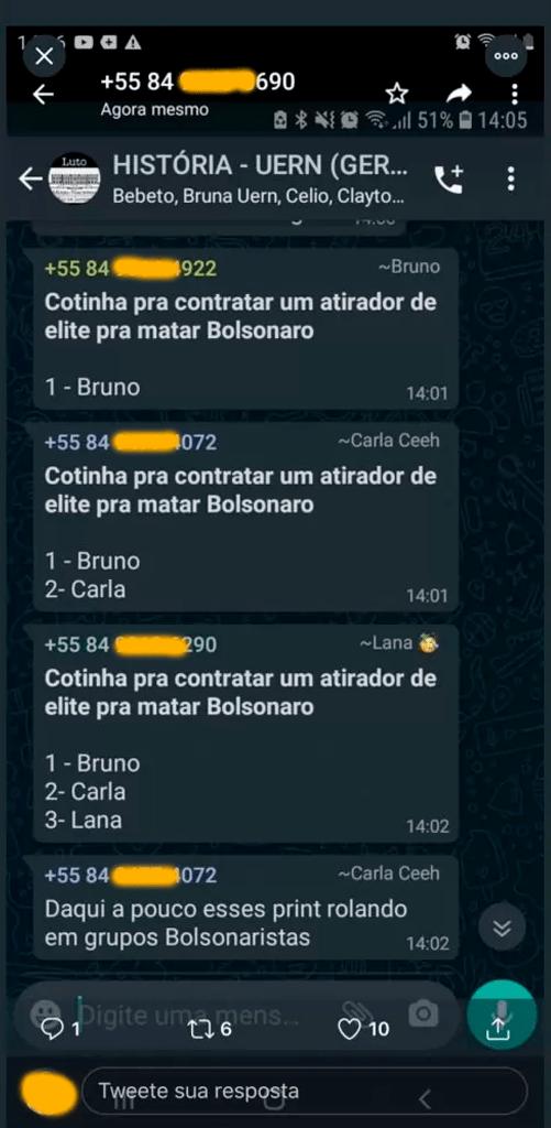 Grupo ameaça o Presidente Jair Bolsonaro