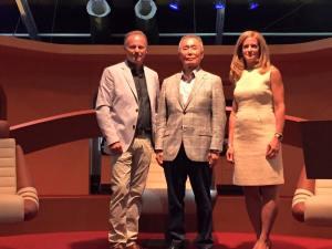 Left to right: Christoph Rahofer aTakei (Sulu), Susan Marenoff-Zausner (President Intrepid Sea, Air & Space Museum)