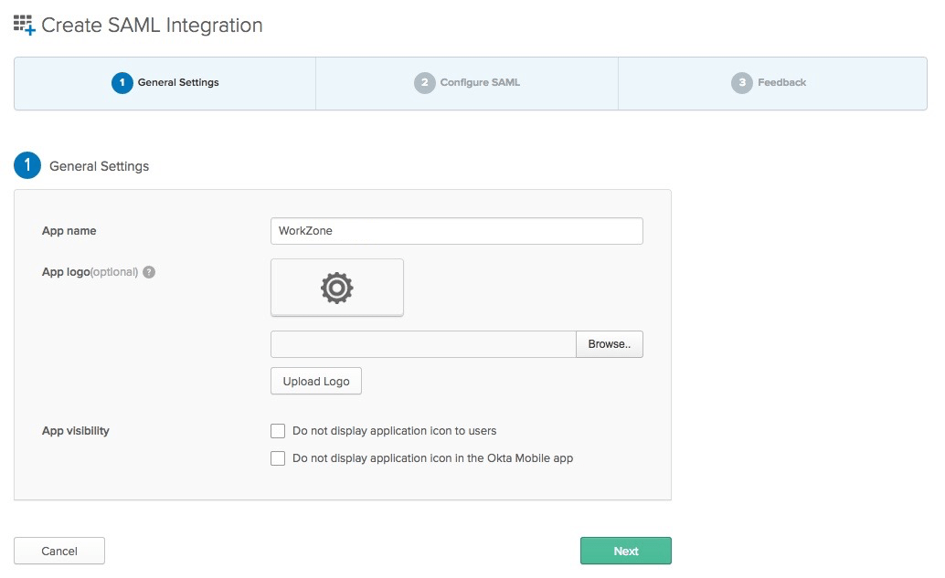 Okta Single Sign-on Setup with Workzone via SAML