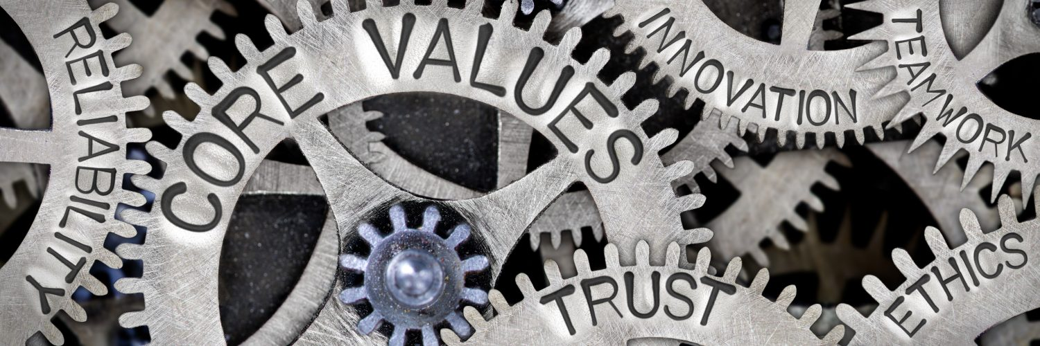 Image of gears with core values, trust, ethics words.