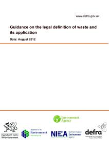 Guidance on the legal definition of waste and its application
