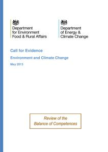 DEFRA / DECC Call for Evidence