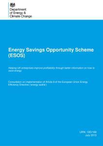 DECC's ESOS Consultation Paper