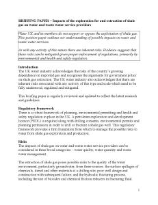 BRIEFING PAPER - Impacts of the exploration for and extraction of shale gas on waste water and water service providers