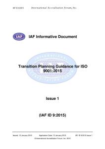 IAF Informative Document: Transition Planning Guidance for ISO 9001:2015