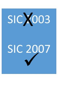 SIC 2007 codes (not SIC 2003) to be used on Consignment Notes