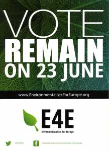 """Vote to Remain in the EU Leaflet from the """"Environmentalists in Europe"""""""