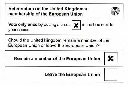 Voting Card for the EU Referendum - 23 June 2016
