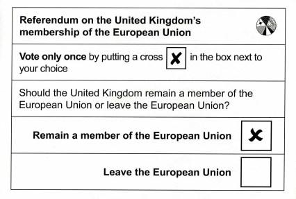Voting Card for the EU Referendum - 23 June 2016
