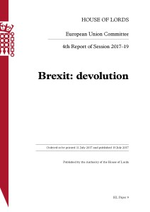 House of Lord's Brexit and Devolution report published today (19 July 2017)