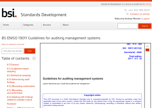 Free access to ISO DIS 19011 is available at the BSI Standards Development portal