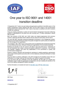 Joint ISO / IAF Communique - One year to ISO 9001 and 14001 transition deadline