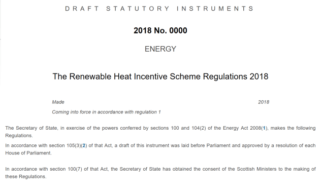 The Renewable Heat Incentive Scheme Regulations 2018