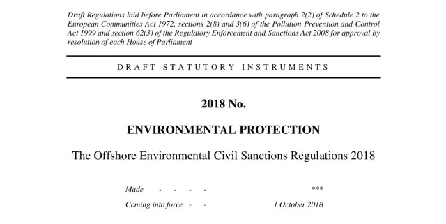 The Offshore Environmental Civil Sanctions Regulations 2018