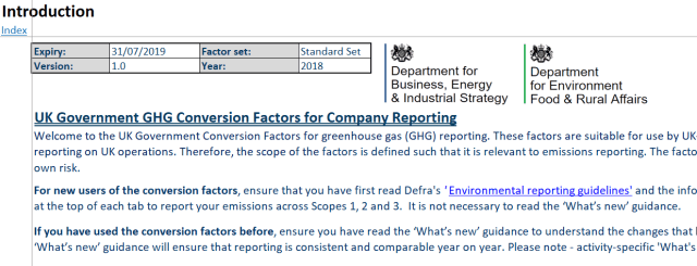 UK Greenhouse gas reporting: conversion factors 2018