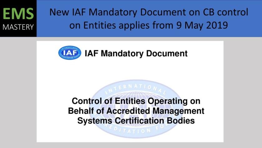 New IAF Mandatory Document on CB control on Entities applies