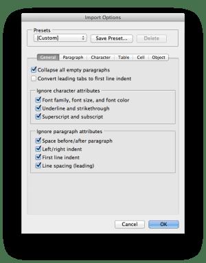 DocsFlow import options general