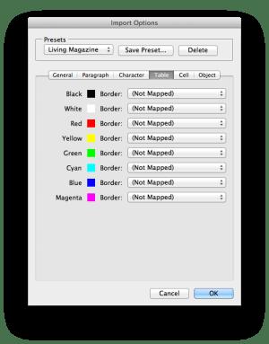 DocsFlow import options table