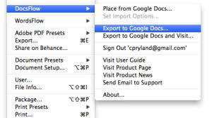 DocsFlow Export menu
