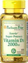 Vitamina D3 2.000IU Puritan's Pride, 100 Cápsulas - Super Potência