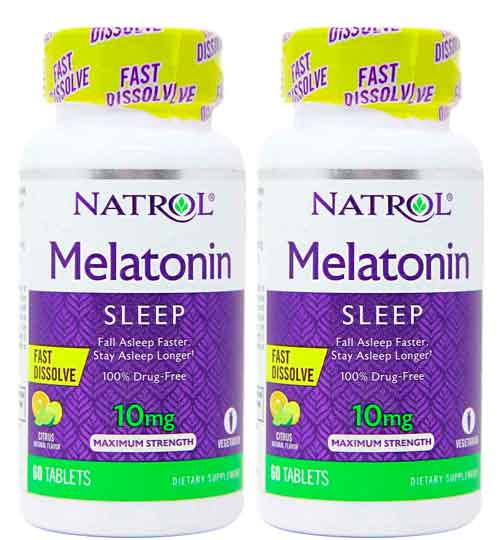 2X Melatonina 10mg Fast Dissolve (Dissolve na boca) – Natrol – 60 comprimidos
