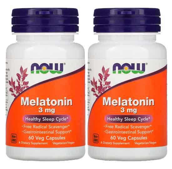 2X Melatonina 3mg - Now Foods - 60 cápsulas