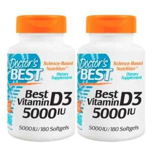 2x Vitamina D3, 5000 IU, 180 Cápsulas