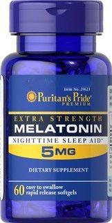 Melatonina 5mg – Puritan's Pride – Rápida Liberação, 60 Cápsulas (Força Máxima)