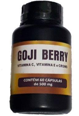 Goji Berry 500mg, com  Vitamina C, Vitamina E e Cromo, 60 cápsulas, Flora viva