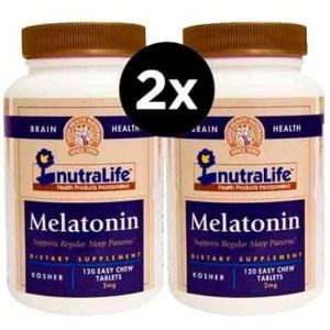 2X Melatonina, 3 mg, Nutralife,120 Comprimidos Mastigáveis ( Total de 240 Comprimidos )